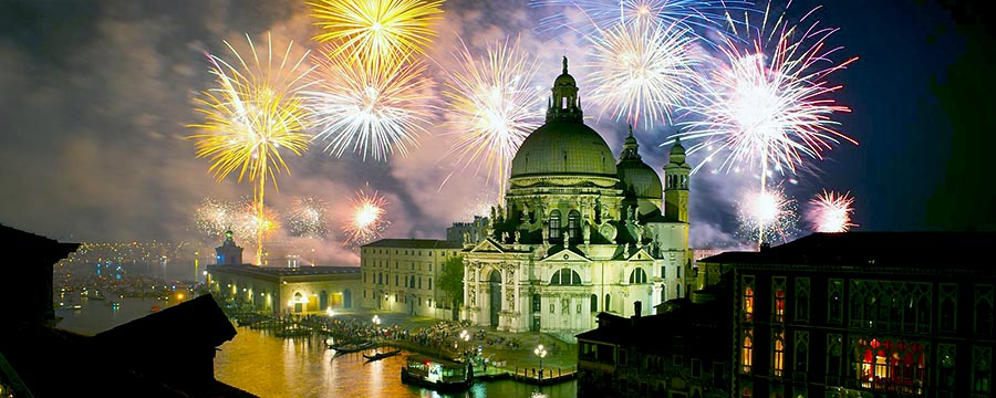 Firework display during the Festa del Redentore, seen over the Salute Basilica