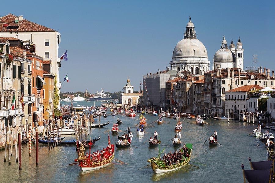 The Regata Storica in Venice from the Accademia Bridge.