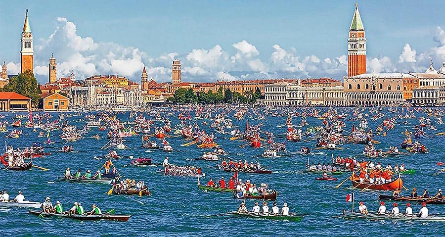 The Vogalonga annual boat race in Venice