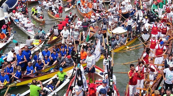 All types of rowing boats take part in the annual Vogalonga in Venice.