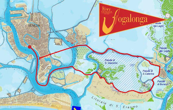 Map of the route of the 2021 Vogalonga race in Venice